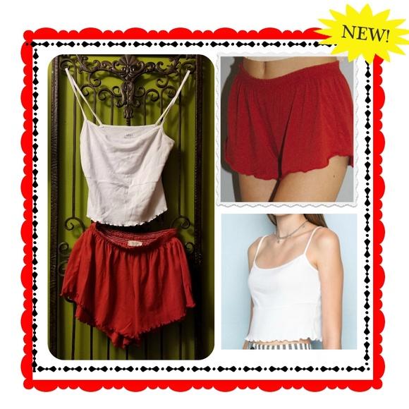cbf7eb929e7 Brandy Melville Tops - red ross shorts   white alani tank set john galt